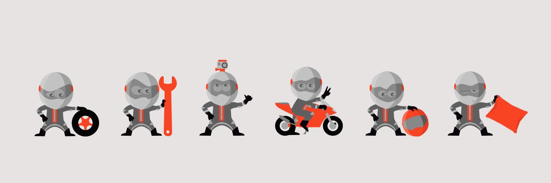 Création d'une mascotte pour le site internet Locations entre motards