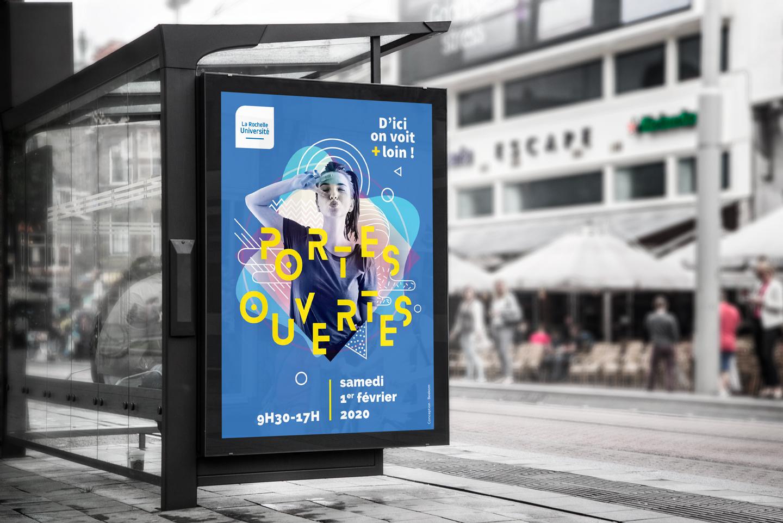 Affiche pour les Portes Ouvertes de l'Université de La Rochelle par Beekom agence de communication