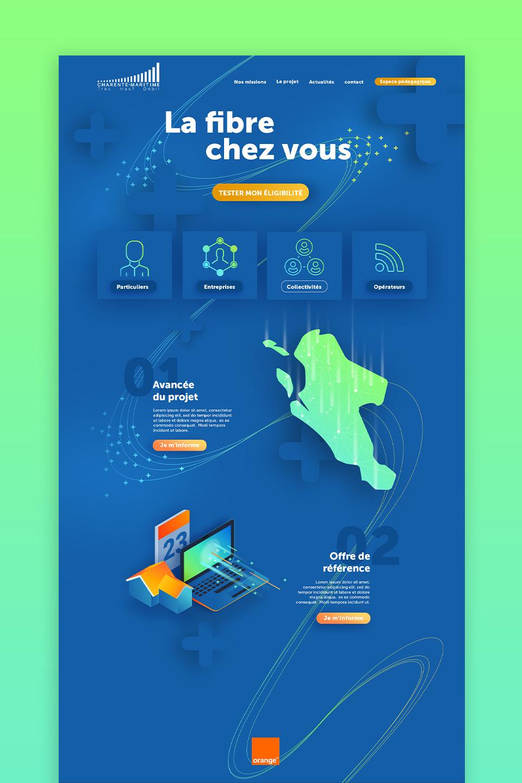 Présentation de la home page du site web Charente-Maritime Très Haut Débit