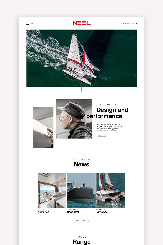 Présentation de la page d'accueil du site NEEL Trimarans