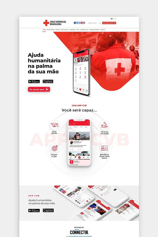 Web design landing page pour le lancement de l'application pour différentes Croix Rouge dans le monde.