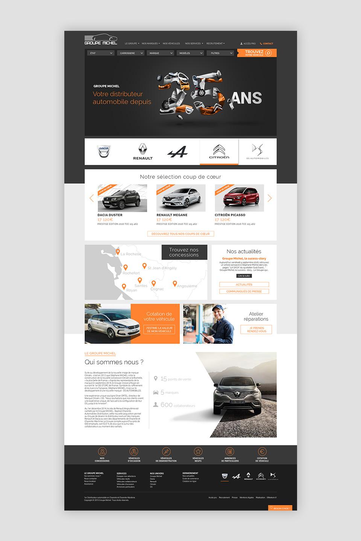 Page du site web du Groupe Michel en Charente et Charente-Maritime