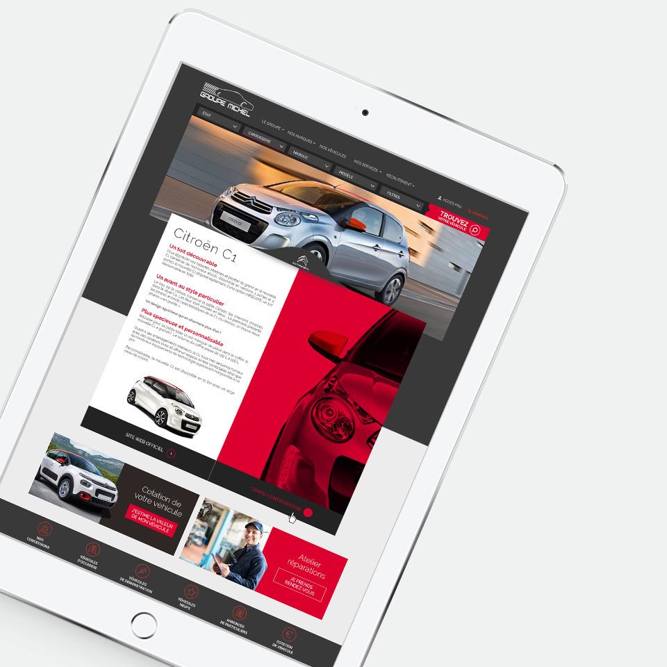 Mise en situation pour le format tablette d'une page de la voiture C1 de Citroën.