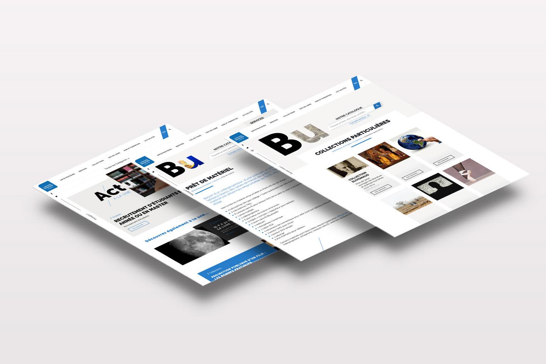 Déclinaison de trois pages du site web de la BU de La Rochelle