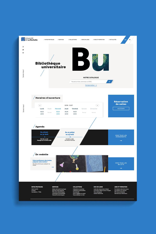 Home page du site web de la BU de La Rochelle Université