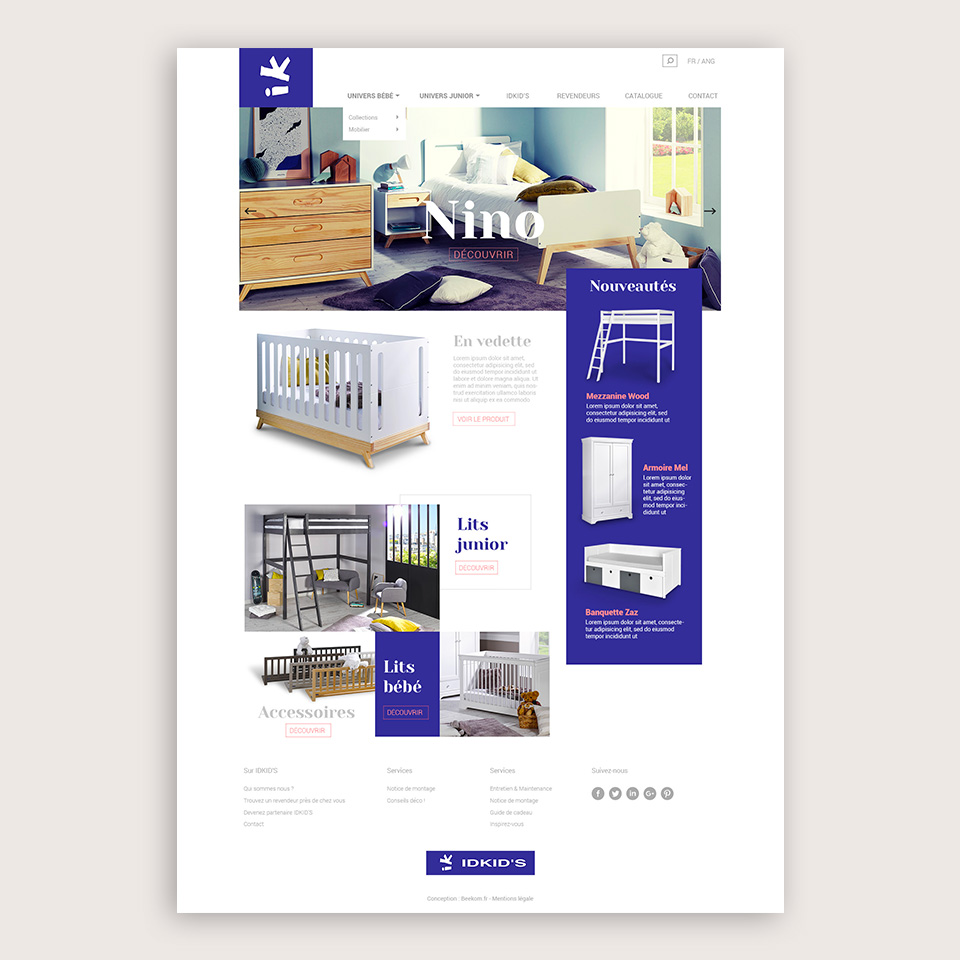Homepage du site Idkids par l'agence de communication beekom