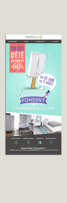 Newsletter pour opération promotionnelle Chambrekids