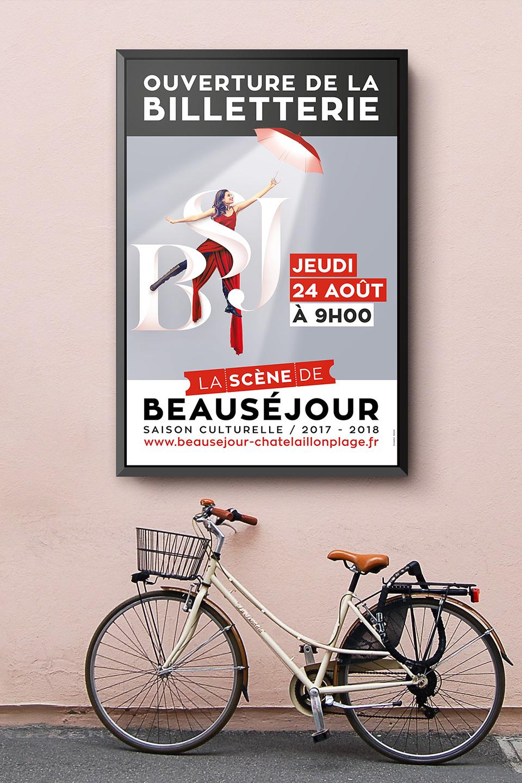 Mise en situation pour l'affichage publicitaire de la saison culturelle 2017 2018 de Beausejour