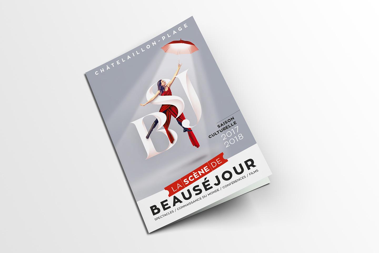 Création et proposition de mise en page pour la couverture du catalogue de la scène de Beauséjour saison 2017 - 2018