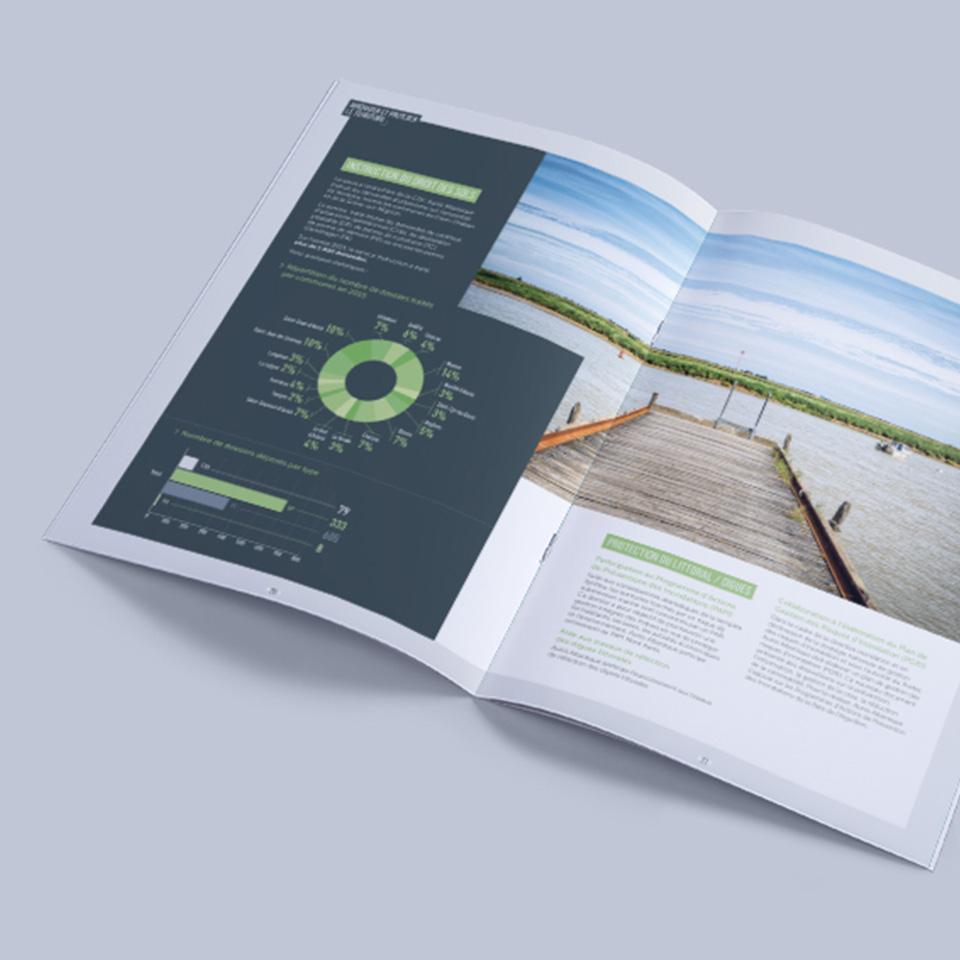 Présentation d'une double page du rapport annuel de la CDC Aunis Atlantique